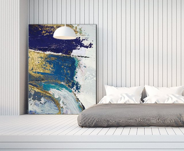 Riviera II. Giant Abstract Art Print on Canvas, 54 x 72 inches.