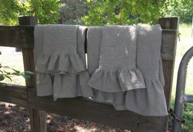 Ruffled Linen Towels Linen Bath Towels Hand Towels Tea Towels