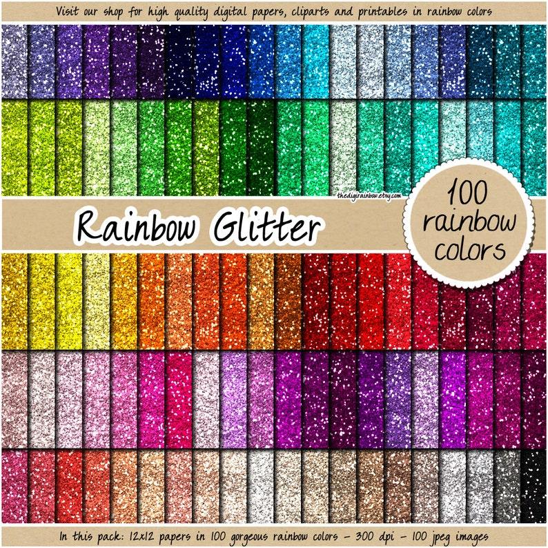 SALE 100 glitter digital paper rainbow glitter digital paper