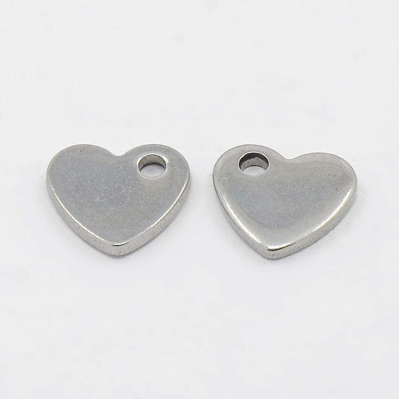 Silver heart-shaped stainless steel blanks logo design 10 x