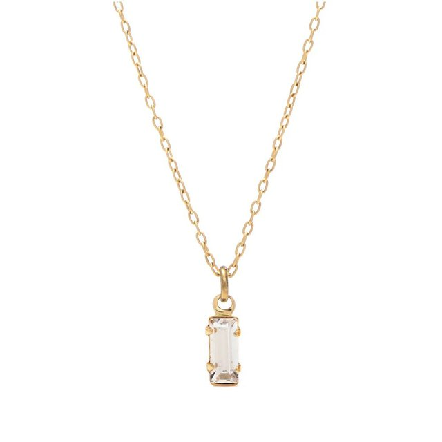 Tiny Baguette Necklace – Clear Crystal