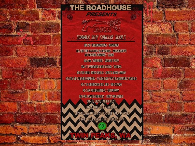 Twin Peaks Poster Roadhouse Bang Bang Bar Summer 2017 Concert