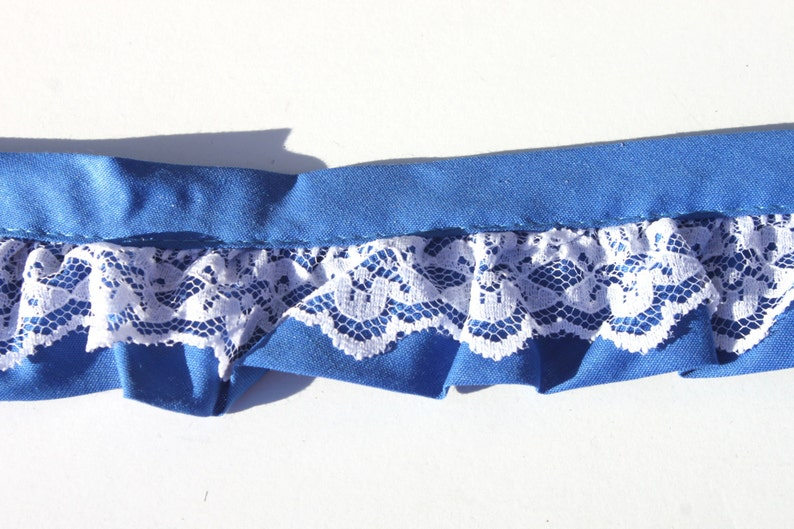 Vintage Blue White Ruffled Cotton Lace Trim Sewing NOS 3