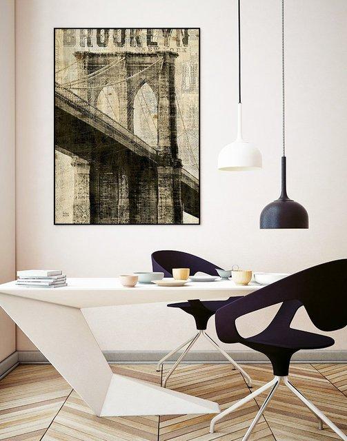 """Vintage NY Brooklyn Bridge"" Art Block Framed Canvas  by Giant Art"