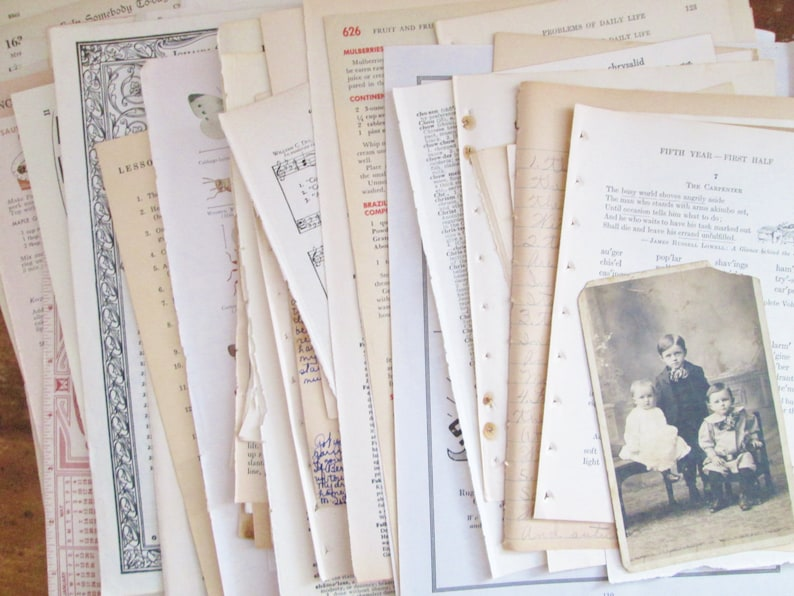 Vintage Paper Ephemera Pack Book Paper 100 Pages Mixed Lot