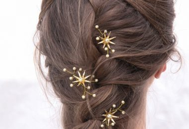 Wedding Hair Pins Star Flower and Champagne Pearl Celestial
