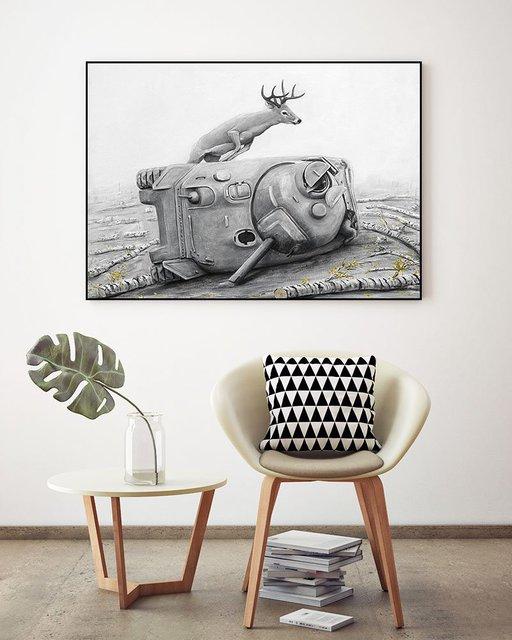 Artaud Deer ArtBlock Framed Print by Ruben Carrasco