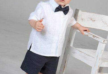 Baby boy linen suit Gray shorts White shirt Ring bearer outfit