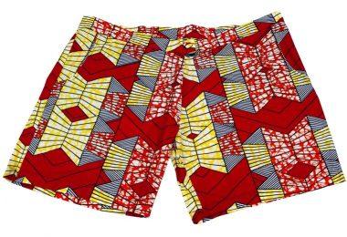 Benue Womens African Wax Print High Waist  Short with Side
