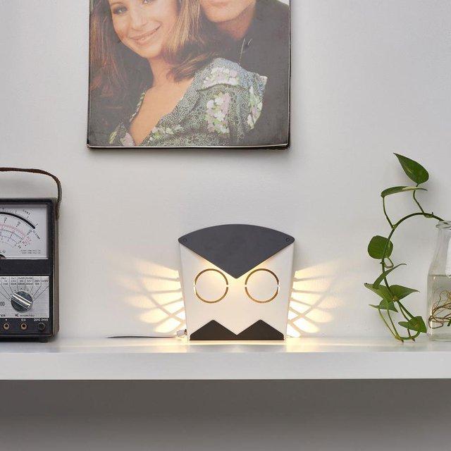 Black LED Aluminum Owl Light Fixture