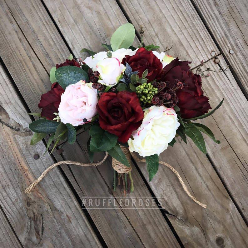 Burgundy Blush Bouquet Bridal Bouquet Wedding Bouquet Wine