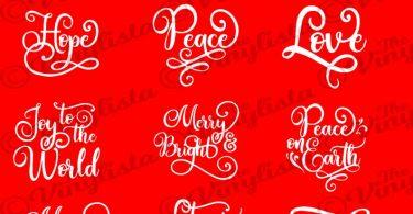 Christmas svg bundle Christmas words ornament SVG bundle