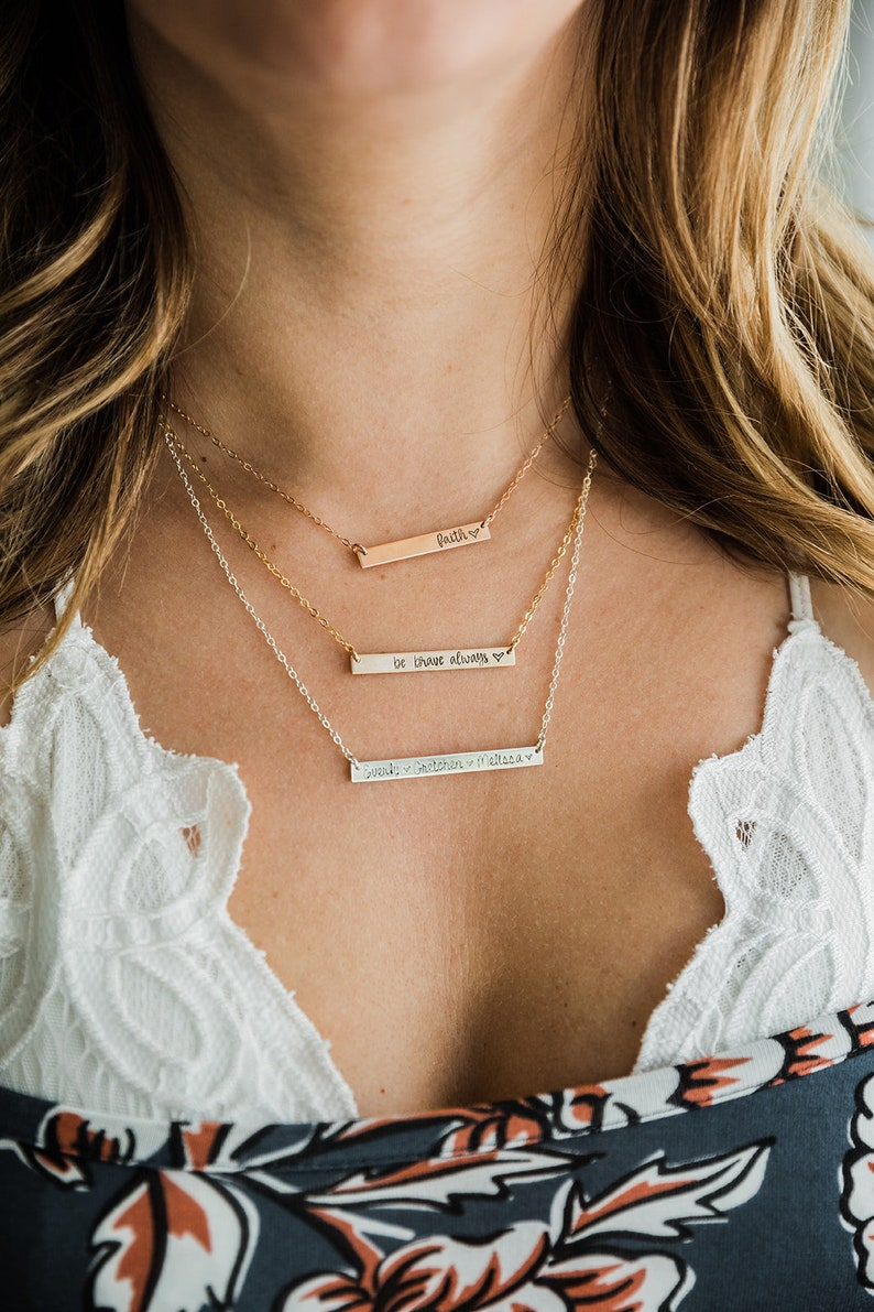 Custom Inspirational Bar Necklace or Name Necklace.