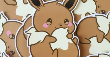 Cute Chubby Eevee Eeveelution Kawaii Fox 8cm Gloss Vinyl