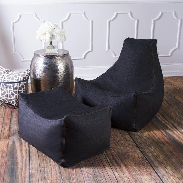 Denim Bean Bag Chair & Ottoman by Jaxx