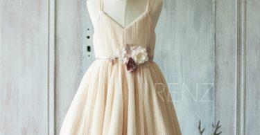 Flower Girl Dress Beige Junior Bridesmaid Dress V Neck Rustic