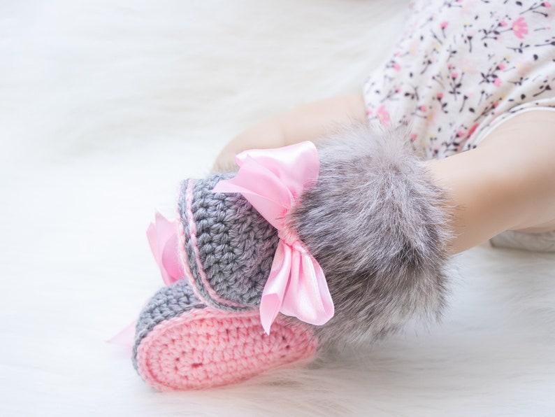 Gray and pink fur booties Newborn girl shoes Preemie girl