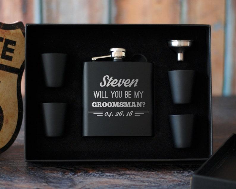 Groomsmen Proposal Gift Set Groomsman Proposal Flask Set