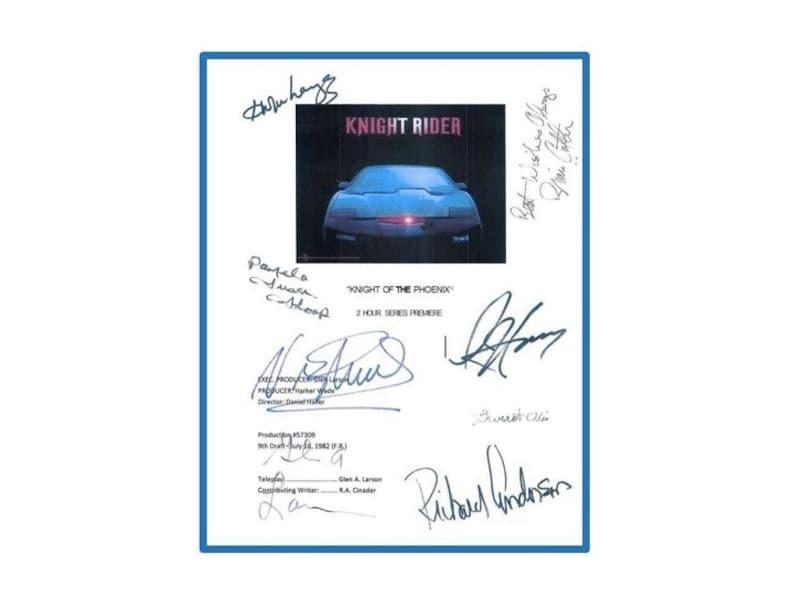 Knight Rider Pilot Script Autographed Signed: David