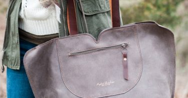 Leather Tote Bag/ Oversize Leather Bag/  Gray Leather Bag/