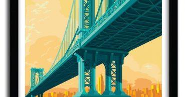 MANHATTAN BRIDGE Art Print by REMKO HEEMSKERK