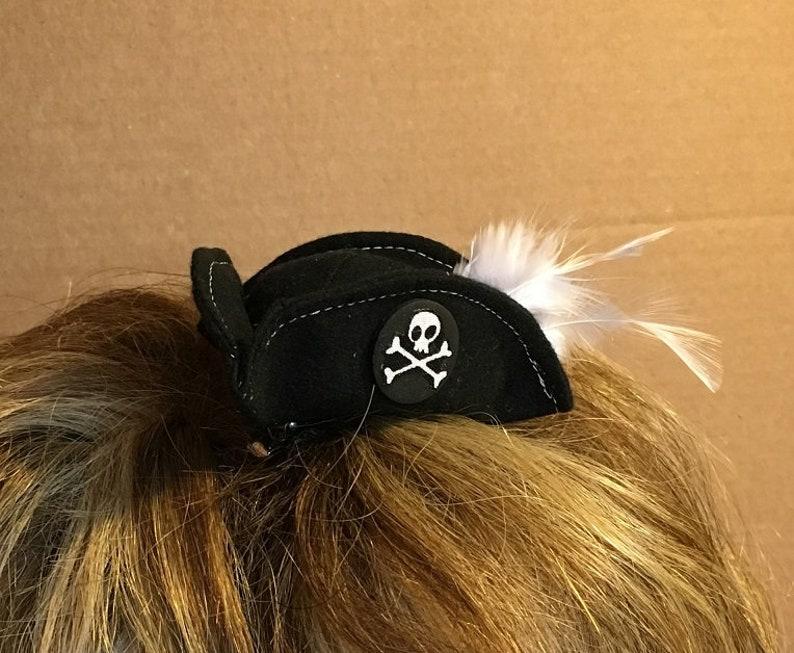 Mini pirate hat  black buccaneer fascinator  three corner