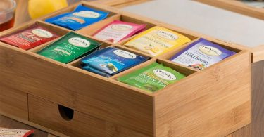 Natural Bamboo Tea Box Magnetic Lid & Drawer