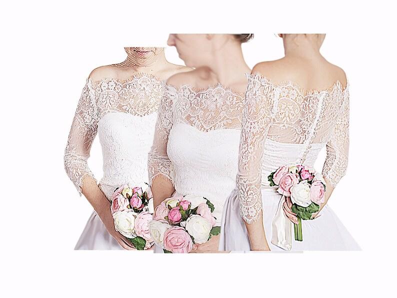 Off white wedding lace jacket off shoulder bridal shrug