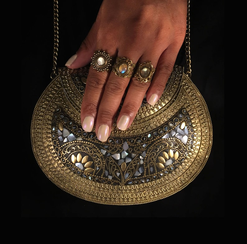 Oria  metal stone bag  ethnic clutch  tribal bag  ornate