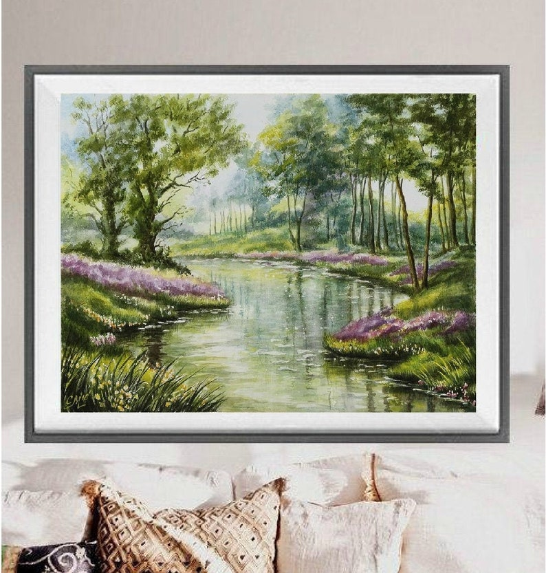 Original watercolor painting landscape painting Nature scene