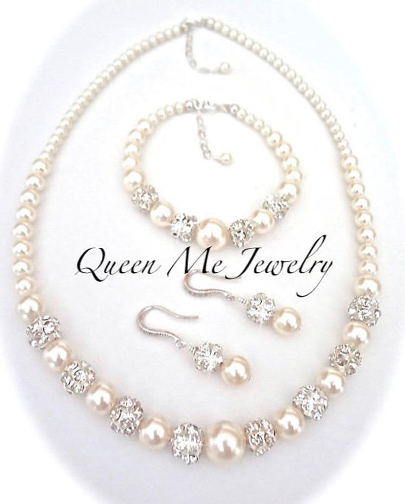 Pearl Jewelry SET Necklace Earrings AND Bracelet Wedding