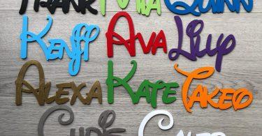 Personalised wooden names Disney font Laser cut