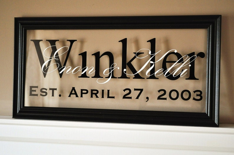 Personalized Glass Family Name Sign With Established Date