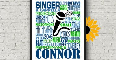 Personalized Singing Poster Singer Typography Choir Teacher