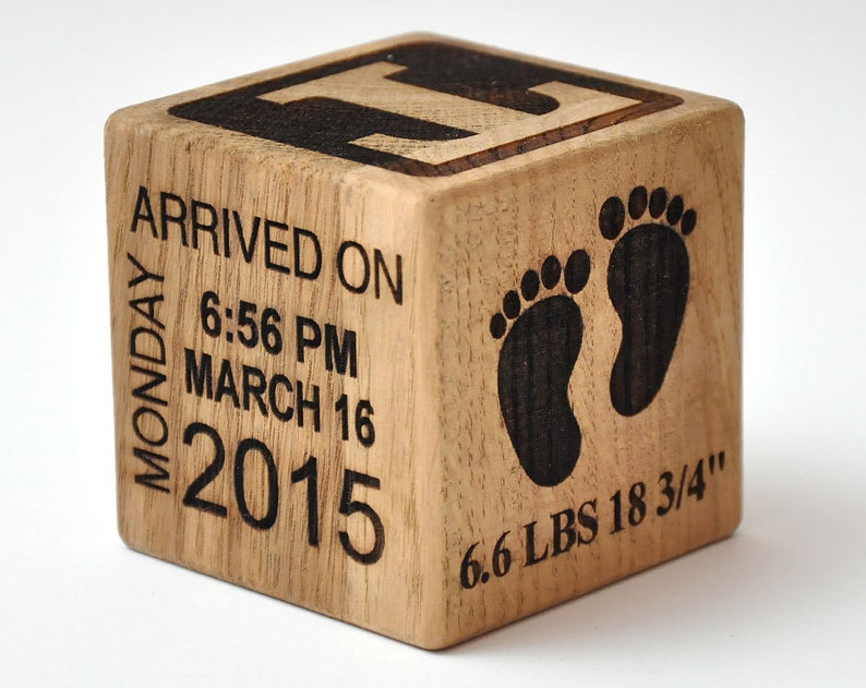 Personalized Wooden Baby Block Gift Engraved It's A Girl