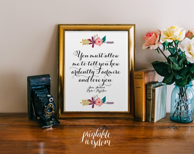 Pride and Prejudice Quote printable print art Jane Austen