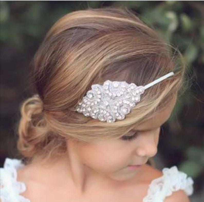 Rhinestone Bridal Headband Flower Girl Bridesmaid First