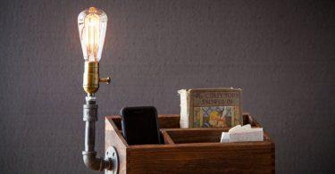 Rustic Desk Organizer lamp/Docking station/Rustic home