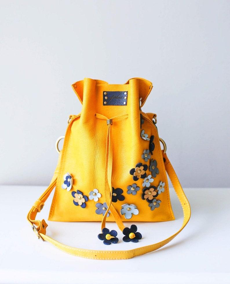 Small Leather Handbag Leather Shoulder Bag Yellow Bucket