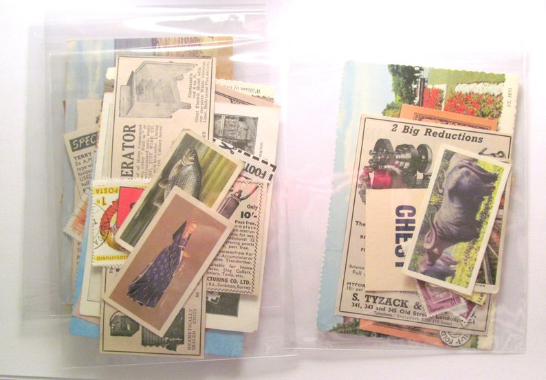 Small vintage paper ephemera pack: 20 mixed pieces for craft.