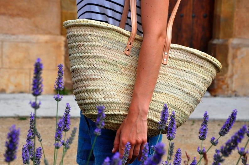 Straw bag Handmade with long handles  ref 7 Summer bag palm