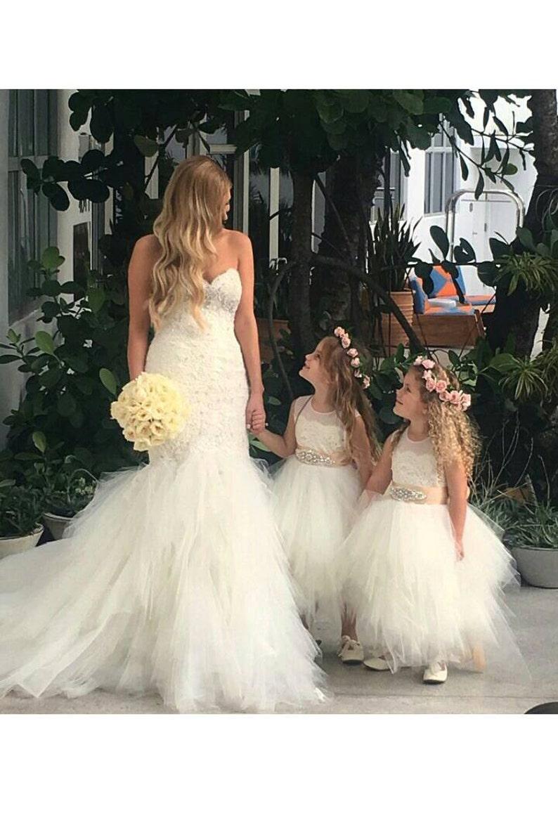 Stunning ivory 'Belle' flower girl dress ivory