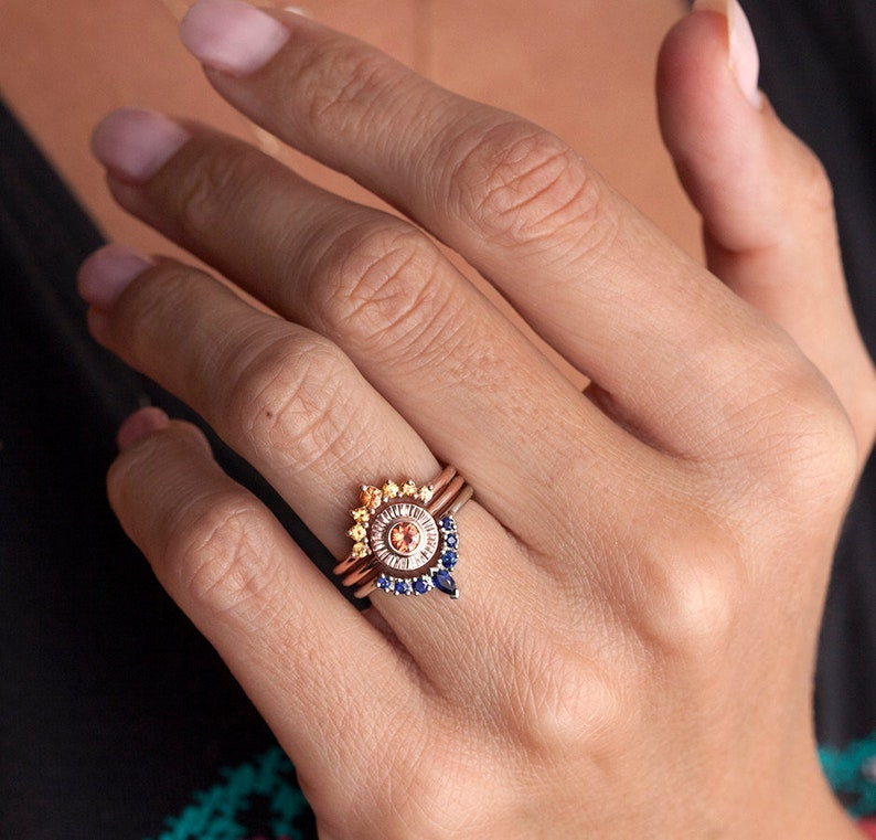 Sunset Ring Set Sapphire Engagement Set Two Matching Bands