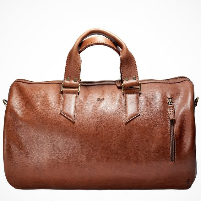 Tan Brown Substantial Leather Duffle Bag
