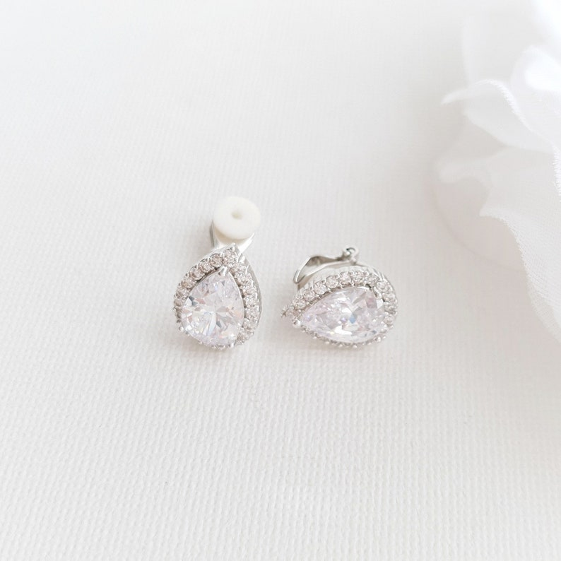 Teardrop Clip On Bridal Earrings for Non Pierced Ears