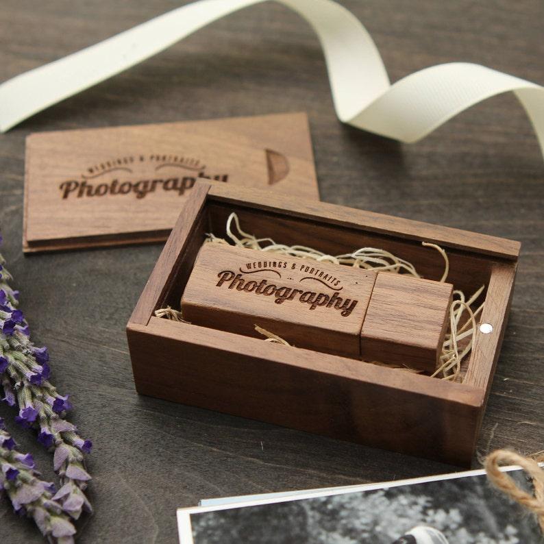 Thin Walnut Wood Box & USB Flash Drive Set Engraved