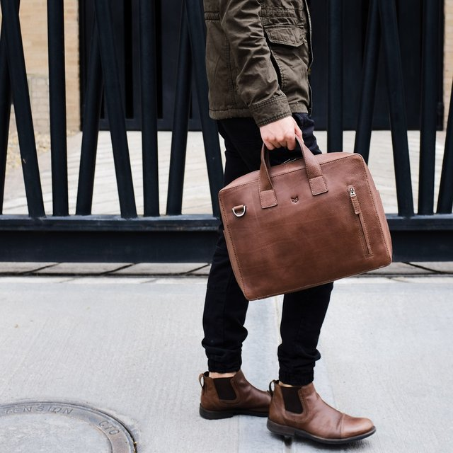 Tobacco Leather Roko Briefcase Work