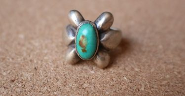 Turquoise Sand Cast RING / Early Southwest Jewelry / Turquoise