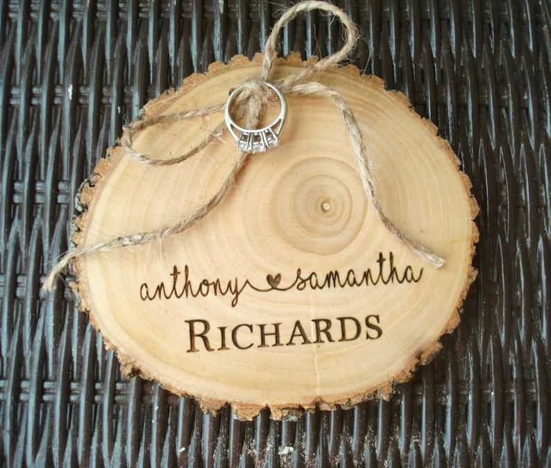 Wedding Ring Holder Wood Slice Wood Ring Holder Wedding