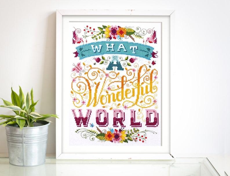 Wonderful World  Modern Cross Stitch Pattern Digital Format